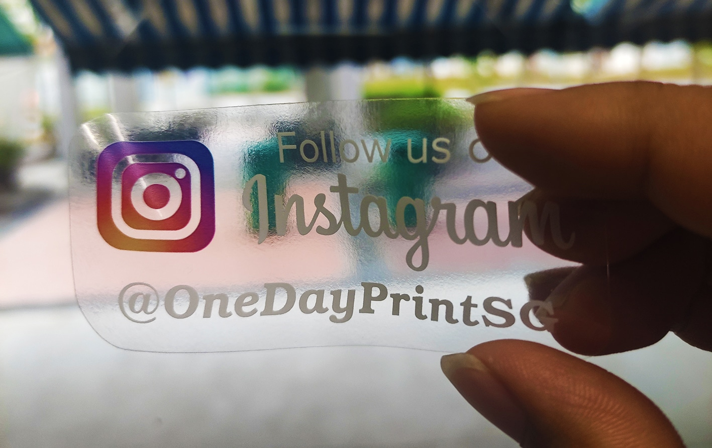 Transparent sticker with white printing